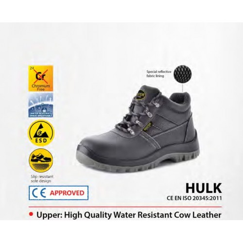 Boxter Middle Cut Water Resistant Cow Leather Safety Shoes HULK