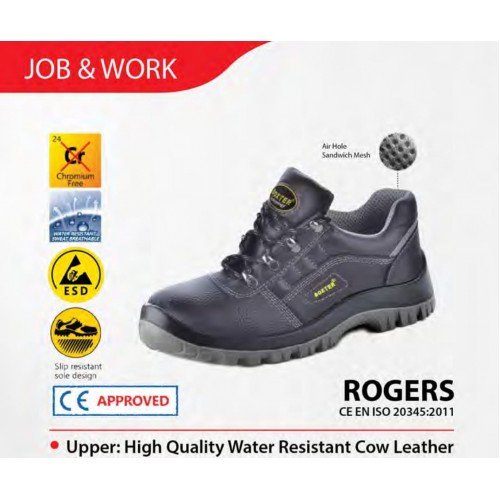 Boxter Low Cut Water Resistant Cow Leather Safety Shoes ROGERS (Kasut Keselamatan)