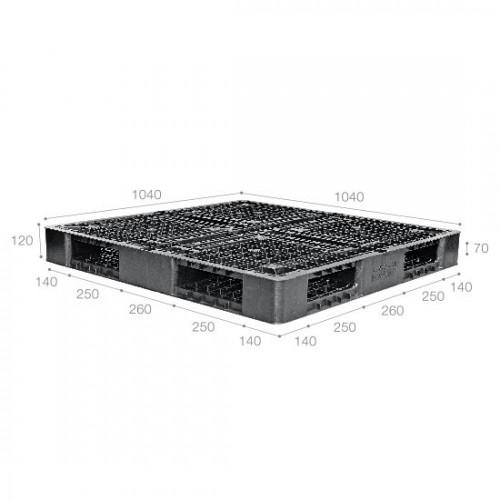 Plastic Cargo Pallet Plusthick Reversible BX1040R4-1A Black