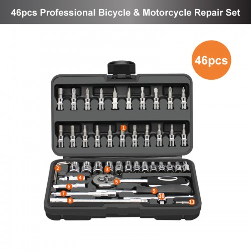 46pcs Professional Bicycle & Motorcycle Repair Tools Set