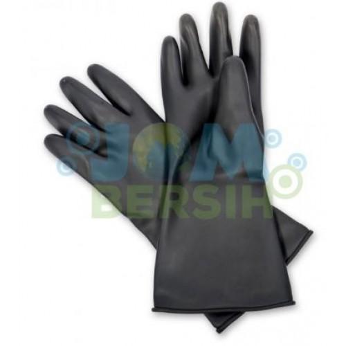Rubber Hand Glove- black - 12 Pair
