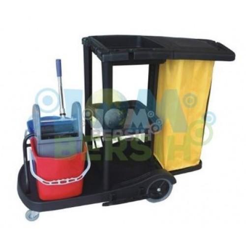 Janitor cart c/w double bucket Utility Trolley