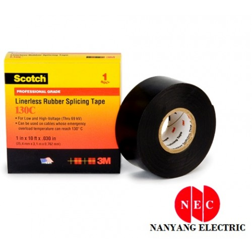 "3M 130C Rubber Splicing Tape Scotch Linerless (3/4"" X 30')"