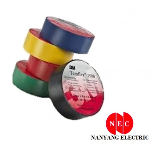 3M Temflex 1500 Vinyl Electrical Tape (18MM X 5M X 0.13MM) (Blue/ Green/ Black/ Red/ Yellow/ White)