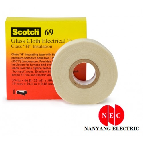 "3M 69 Temp Glass Cloth Electrical Insulation Tape (3/4"" X 66')"
