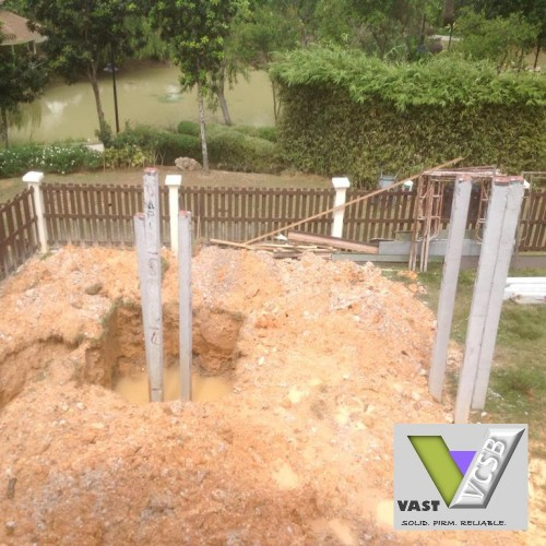 Crane drop-hammer Piling Service by Vast Construction Sdn Bhd