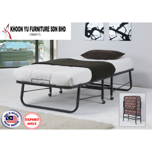 Bedroom Furniture, Rollaway Metal Bed Frame for export in Single Bed, TS 220 Auto Max Folding Bed by Khoon Yu Furniture, Made in Malaysia