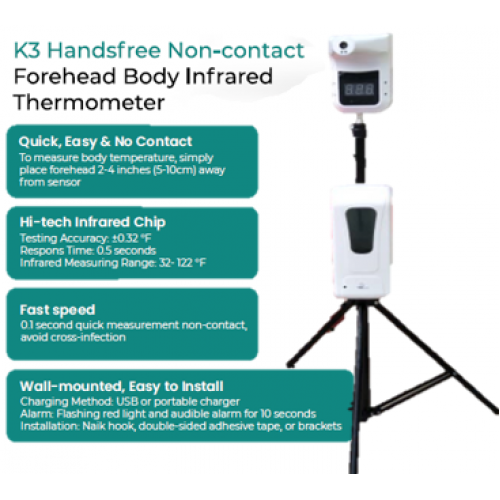 INFRARED HANDSFREE THERMOMETER WITH TRIPOD AND AUTOMATIC SANITIZER DISPENSER
