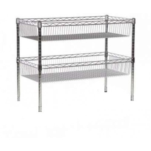 2 Tier Chrome Wire Basket Shelf Rack Shelf 450L x 250W x 450H