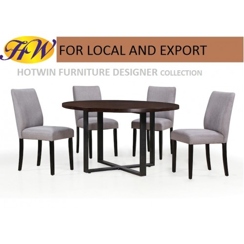 Hotwin Furniture Modern Solid Round Tabletop Dining Table Set with cushion chair Model HW MT