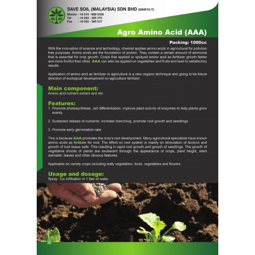Save Soil Fertilizer Agro Amino Acid (AAA)