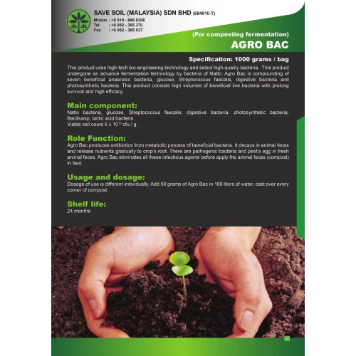 Save Soil Fertilizer Agro Bac for Composting and Fermentation