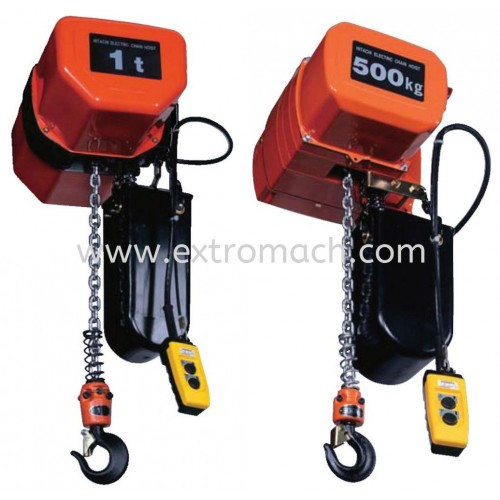 Hitachi Electric Chain Hoist S series Suspension Type Single Speed 3 Phase With Motorized Trolley ET Load 250kg to 5t